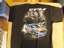 Black OUT OF THE LAW hot rod, Los Angeles skyline, low rider chicano t-shirt.