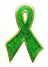 Green Awareness Ribbon Pin Sparkling Bling Cancer Cause Syndromes Illness New