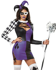 Sexy Womens Harlequin Clown Jester Joker Halloween Costume