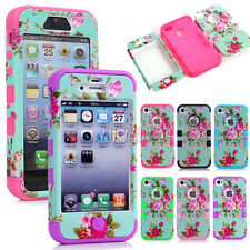Heavy Duty Hybrid Soft Hard Combo Matte Peony Flower Skin Case Cover For iPhone