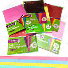 A4 MIXED COLOURED CRAFT PAPER PACKS Card/Sticky Backing/Sheet/Hobby/Textile/Wrap