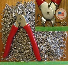 "Ringer Pliers & 150 pcs. 1/2"" Galv Hog Rings Netting fences cages Car Upholstery"