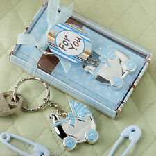 40 Blue or Pink Baby Carriage Key Chain Favors Baby Shower Favor Boy or Girl