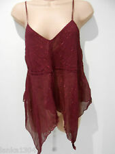Closet Burgundy Thin Straps Crinkle Shiny lines Party Tunic Top (NEW) Size 10