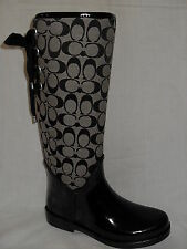 NEW IN BOX COACH TRISTEE BLACK WHITE SIGNATURE RAINBOOTS BOOTS MULTIPLE SIZES