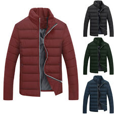 Mens Stitched Zip Up Stand Collar Parka Winter Thick Padded Coat Jacket Outwear