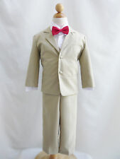 Boy khaki/taupe/white red wine fuchsia coral purple bow tie party formal suit