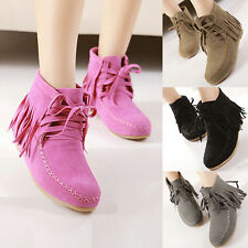 Womens Stitched Suede Moccasin Ankle Boots Tassel Lace Up Hidden Wedge Booties