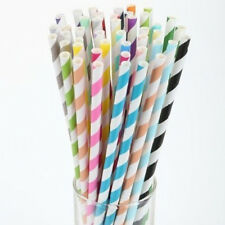 FSL New 25 pcs/bag Colorful Drinking Paper Striped Straws For Wedding and Party