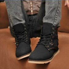 New Mens Winter Casual Leather High Top Lace up Slip on Comfy Shoes Ankle Boots