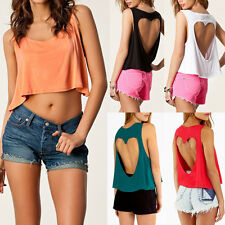 Sexy Love Hollow Backless Short T-Shirt Tops Crop Loose Baggy Vest Tank Blouse