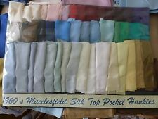 Macclesfield Silk Top Pocket Square Hank Woven in England Sixties Vintage