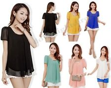 Korean Ladies Women's Loose Chiffon Short Sleeve Tops Blouses Shirts Casual Top