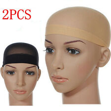 2pc Unisex Nylon Wig Hair Cap Stocking Liner Snood Mesh Stretch Nude Beige Black