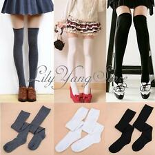 Lady Girls Soft Cotton Opaque Over The Knee Socks Thigh High Warm Long Stockings