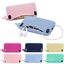 Hot Cute Big Mouth Whale Rubber Card Holder Soft Case Cover For iPhone 4/4S/5/5S