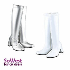 FANCY DRESS GOGO PARTY 60s 70s WHITE & SILVER RETRO GOGO BOOTS Sizes 3 4 5 6 7 8