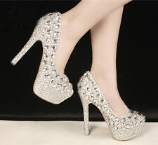 Beautiful Gorgeous Pearl Wedding Formal Party Queen shoes High Heels