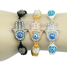 Chic Silver Gold plated Evil Eye Charm Hand Crystal Disco Ball Handcraf Bracelet