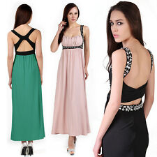 Womens Stretchy Cross Back Colour Block Beaded Evening Party Cocktail Maxi Dress