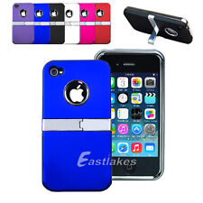 New Deluxe W/Chrome Hard Stand Case Cover for Apple iPhone 4S 4 4G AU