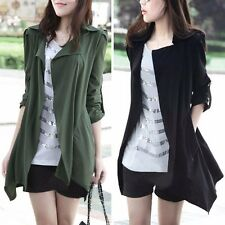 New Women Long Sleeve Winter Casual Jacket Trench Coat Cardigan Black Green Red