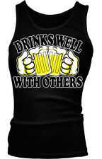 Drinks Well With Others Beer Mugs Cheers Funny Humor Boy Beater Tank Top