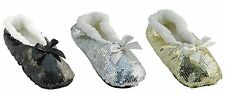 Ladies Sequinned Indoor Slipper Sock Several Colours & Sizes
