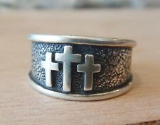 Sterling Silver 10mm wide 3 Crosses Mount Calvary Cross of Jesus Christian Ring