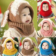 Winter Warm Toddler Kids Girl Boy Coif Hood Scarf Kintted Woolen Scarves Cap A61