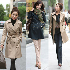 Woman Fashion Long Sleeve Slim Trench Double Breasted Coat Long Jacket Outwear