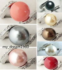 1Pcs 18K white Gold Plated 12mm Shell Pearl Inlay crystal Ring 7 8 9 Size