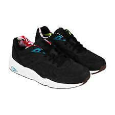 Puma Mens R698L Tropicalia Black Leather Lace Up Sneakers Shoes