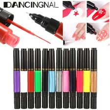 2-WAY NAIL ART TIPS VARNISH LINER PAINTING PICK DRAWING POLISH POINT PEN BRUSH