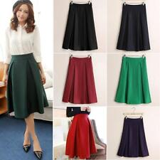 Vintage Women High Waist Elastic Flared Skater Pleated Skirt Ladies Full Skirt