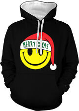 Merry Christmas Smiley Face Seasons Greetings Holiday 2-tone Hoodie Pullover