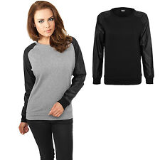 URBAN CLASSICS Women's Pullover Sweatshirt with Faux Leather Sleeves Gray TB798