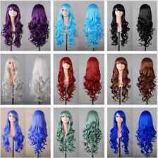New Fashion Women's Multi-Color Long Curly Anime Cosplay Party Wig/Wigs+Cap Gift