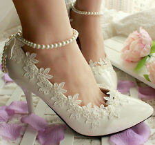 Classic Noble Pure Pearl Chain Crystal Lace Flower Bows Wedding Women High Heels