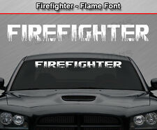 FIREFIGHTER Flame Font Flaming Fire Windshield Decal Back Window Sticker Graphic