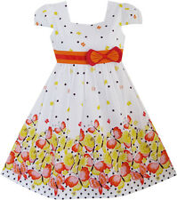 Sunny Fashion Girls Dress Short Sleeve Butterfly Dot School Uniform Size 12M-10