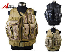 Tactical Military SWAT Police Airsoft Camo Molle Combat Vest w/ Pistol Holster