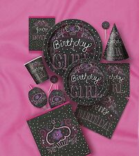 BIRTHDAY SWEETS PARTY ITEMS (Girl/Black/Pink) Tableware Balloons & Decorations