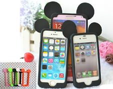 Cute 3D Black Mouse Ear Frame Silicone Soft Bumper Case Border For Mobile Phones