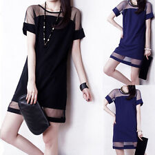 Sexy Women Short Sleeve Net Yarn Splicing Chiffon Slim Dresses Nice