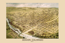 1874 Map of Denver Colorado Bird Eye View Travel Vintage Poster Repro FREE S/H