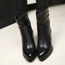Women Handsome Pointed Toe Block Heel Velcro Ankle Boots Motorcycle Bootie Shoe