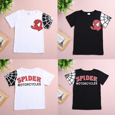 Fashion Spiderman Long Sleeve T Shirt Top Girls Boys Kids Blouse 2-7 Years
