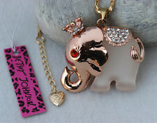 Betsey Johnson New Design Crystal Cute Crown elephant Pendant Necklace