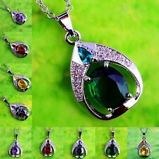 Xmas Gift Rainbow Topaz & Citrine &Ruby Spinel Gemstone Silver Pendant Necklace